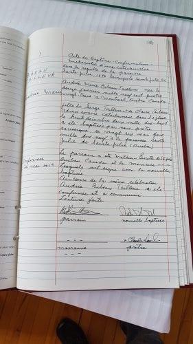 registre du baptême de ma conjointe Audrée